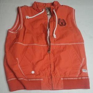 MENS Orange Akdmks fullzip outerwear vest SZ L